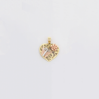 Butterfly and Rose Heart Tricolor Diamond Cut Colgante (14K) - Popular Jewelry