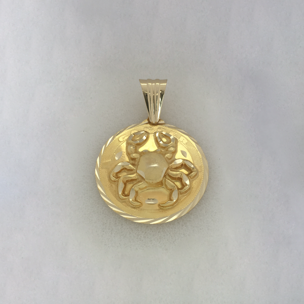 Cancer Zodiac Sign Medallion Diamond Cut Anheng (14K) - Popular Jewelry