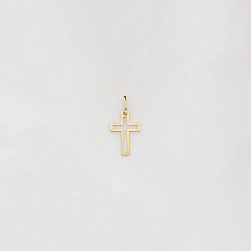 Plain Cross Outline Pendant (14K) - Popular Jewelry