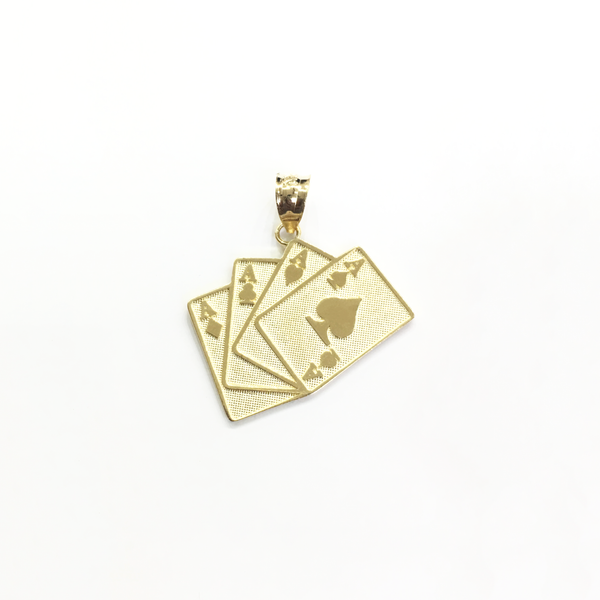 Four Aces Card Pendant (14K) - Popular Jewelry New York