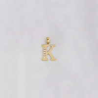 Letter 'K' CZ Pendant (14K) - Popular Jewelry