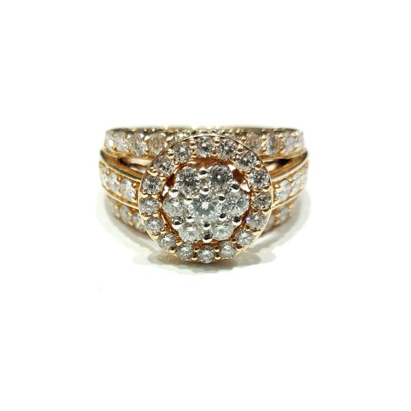Diamond Engagement Ring (Pave anviwònman) Rose Gold (14K) - Popular Jewelry - New York