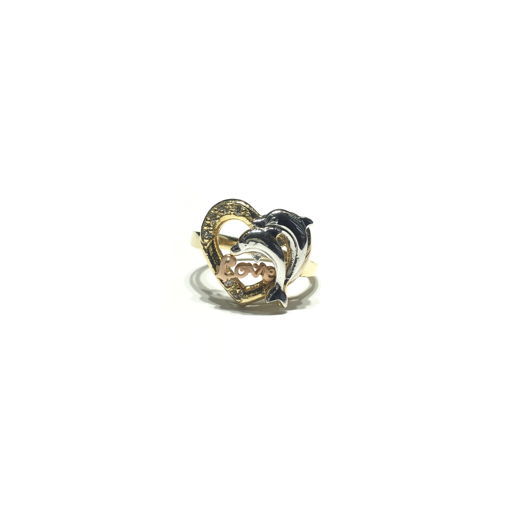 Dolphin's Love Heart CZ Ring (14K) front - Popular Jewelry - New York