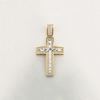 Cross CZ Two-Tone Pendant (14K) - Popular Jewelry New York