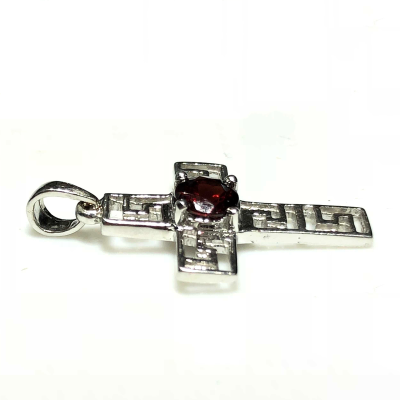 Art Deco Garnet Cross Pendant (14K)