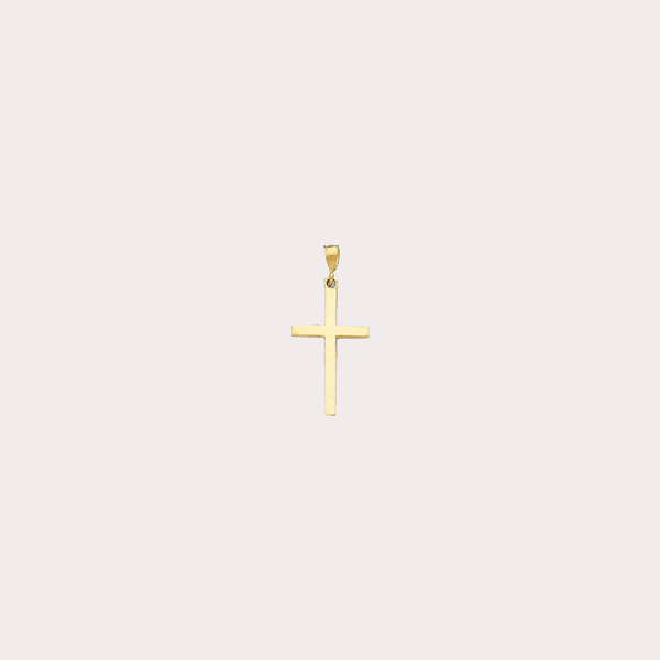 Plain Cross Pendant (14K) - Popular Jewelry - New York