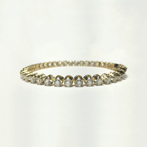 Round Diamond Tennis Bracelet (14K) front - Popular Jewelry - New York