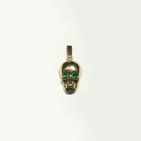 Skull Head Pendant (14K) Green Cubic Zirconia Stones - Popular Jewelry - New York