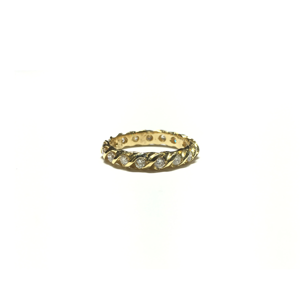 Twisted Diamond Eternity Ring (14K) front - Popular Jewelry - New York