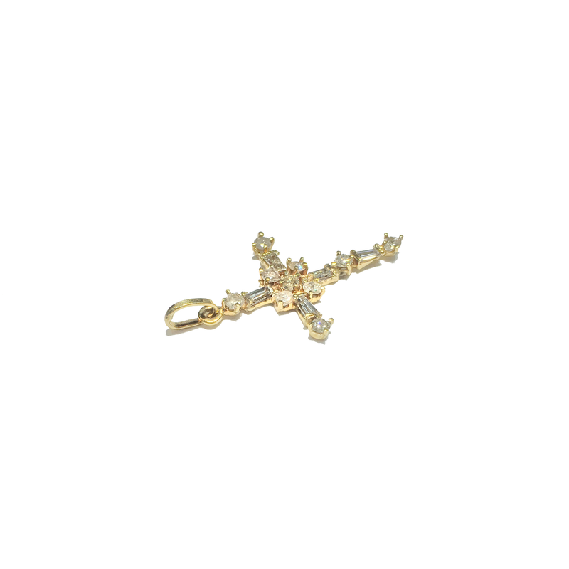 Baguette and Round Diamond Cross Pendant (14K)