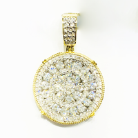 Ang Diamond Iced-Out Cluster Medallion Pendant (14K)