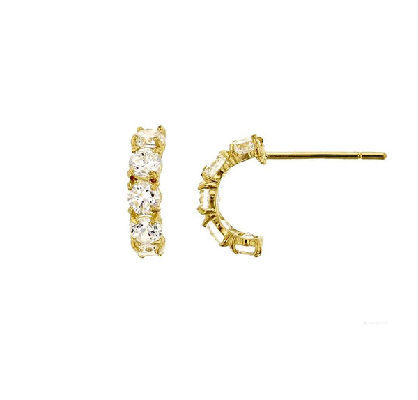 5-Stone Half Hoop Stud Earrings (14K)
