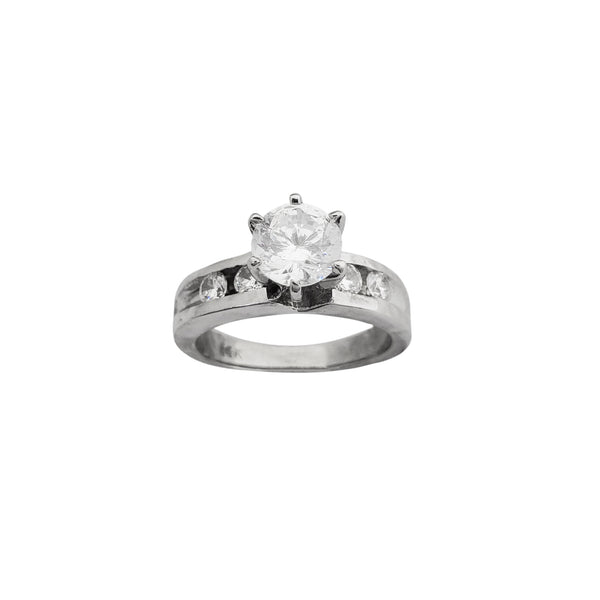 Channel Setting 6-Prong CZ Engagement Ring (14K) Popular Jewelry New York