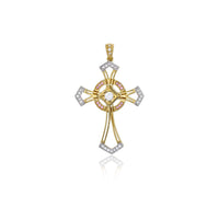 Two-tone Pink & White CZ Cross Pendant (14K)