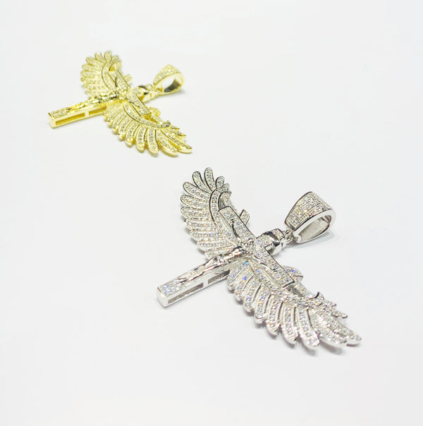 Winged Cross CZ-hanger (sulver)