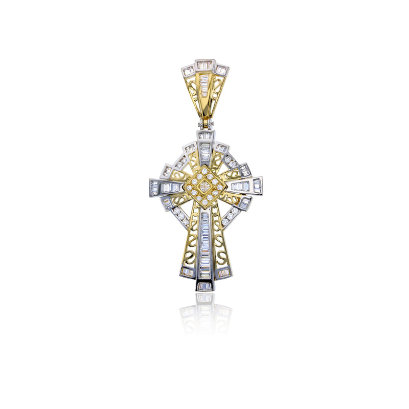 Two-tone CZ Cross Pendant (14K)