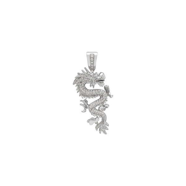 Diamond Flying Dragon Pendant (18K) front - Popular Jewelry - New York
