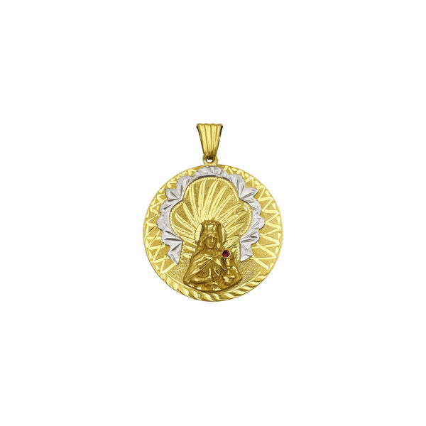 Saint Barbara Medallion Pendant (18K) front - Popular Jewelry - New York