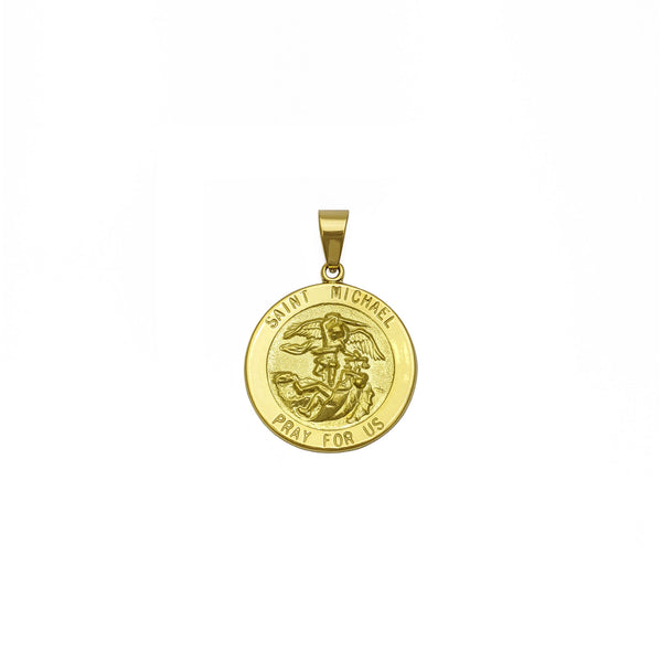 Obesek za medaljone Saint Michael (18 K) spredaj - Popular Jewelry - New York