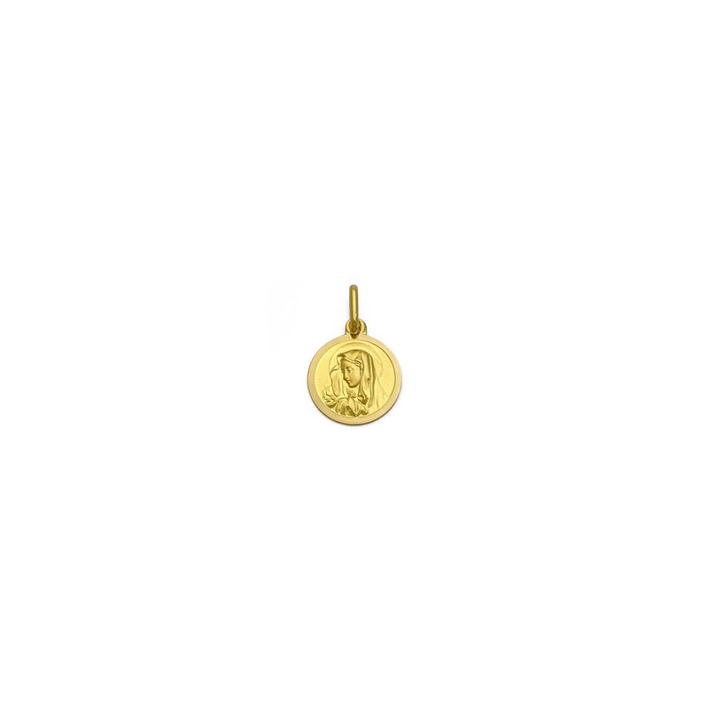 Virgin Mary Medallion Pendant small (18K) front - Popular Jewelry - New York