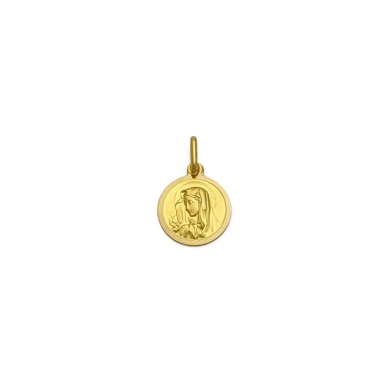 Virgin Mary Medallion Pendant large (18K) front - Popular Jewelry - New York