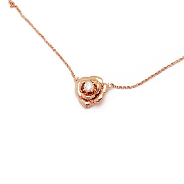 Diamond Rose Blossom Necklace Rose Gold (18K) top - Popular Jewelry - New York