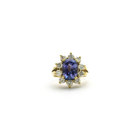 Oval Tanzanite Diamond Sunburst Halo Ring (18K) front - Popular Jewelry - New York
