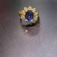 Oval Tanzanite Diamond Sunburst Halo Ring (18K) live - Popular Jewelry - New York