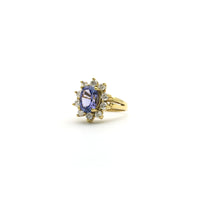 Oval Tanzanite Diamond Sunburst Halo Ring (18K) side - Popular Jewelry - New York