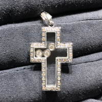 Floating Diamonds Cross Pendant (18K)