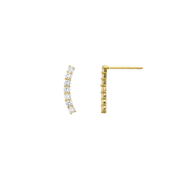 7-Stone Curved Liner Stud Earrings (14K)