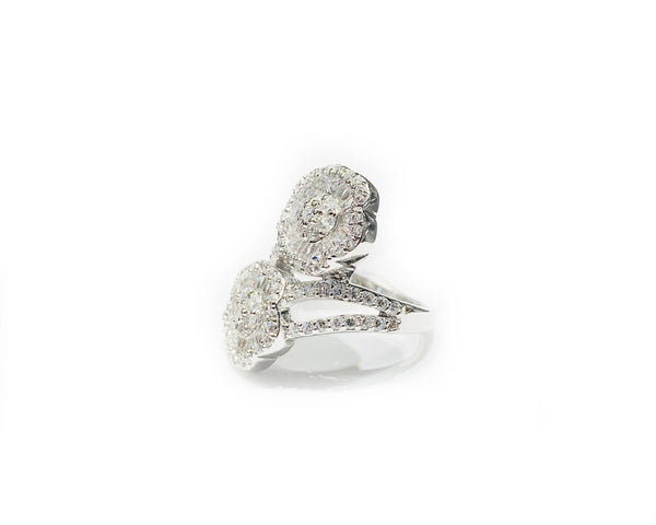Double Flower CZ Ring (Silver).