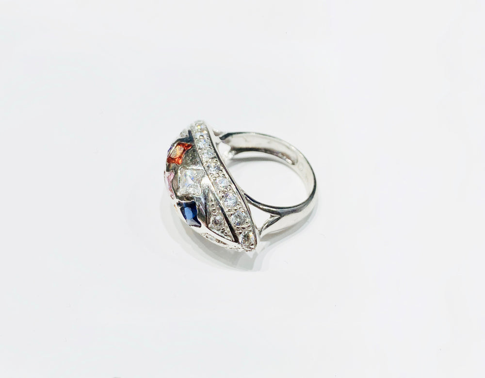 Multi-color Cocktail CZ Ring (14K).