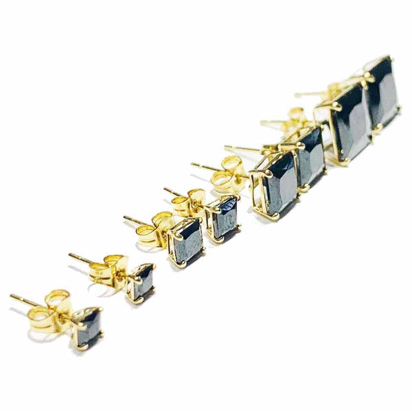 Black Onyx (Princess-Cut) Stud Earring | 14K