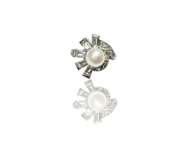 Pearl on CZ Mantle Ring (14K)