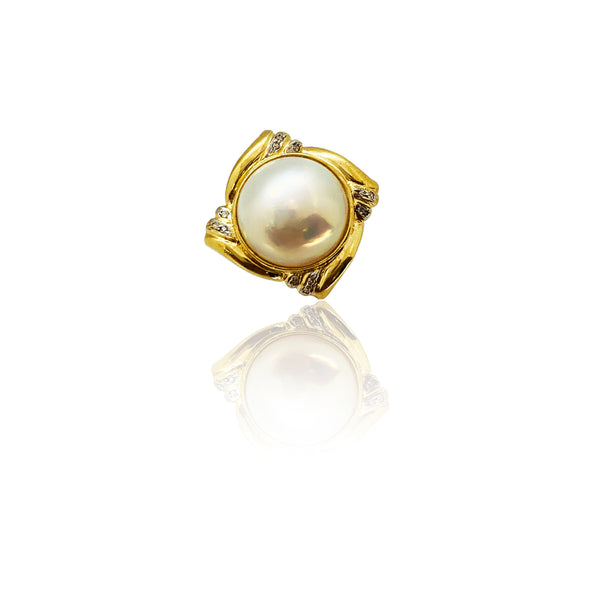 Diamond Pearl Square Ring (14K)