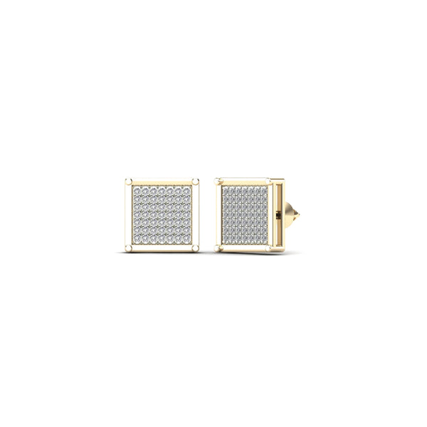 Diamond Pave Set Square Shaped Earrings (14K)
