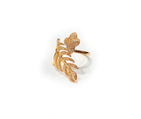 Buttlerfly and Leaf CZ Ring (Silver)