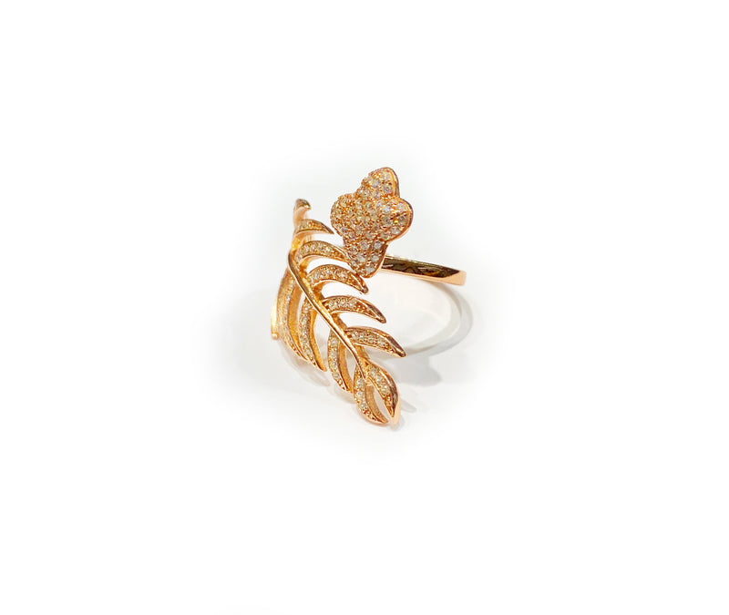 Butterfly and Leaf CZ Ring (Silver)