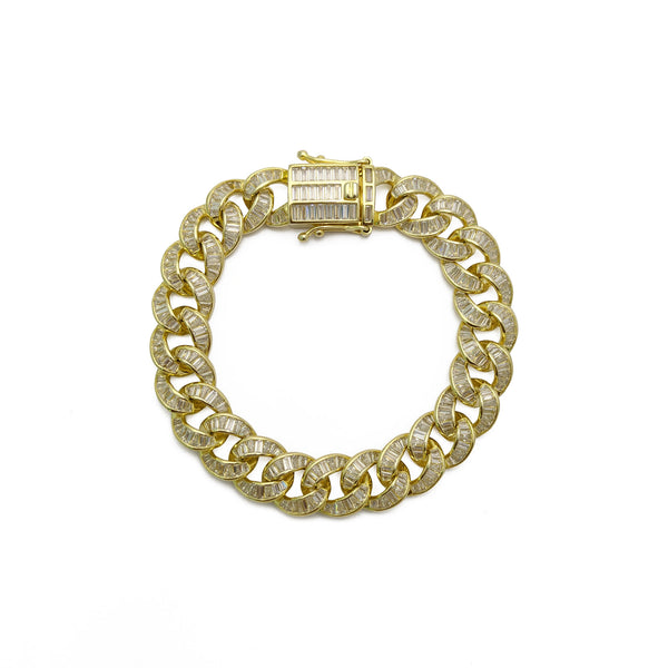 Baguette Iced-Out Miami Kubaanske Bracelet (Sulver) Upper View - Popular Jewelry - New York