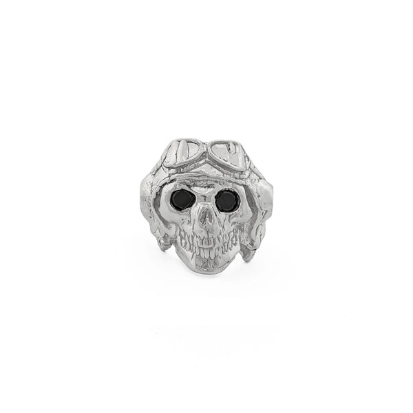 Biker Skull Ring (Silver) front - Popular Jewelry - New York