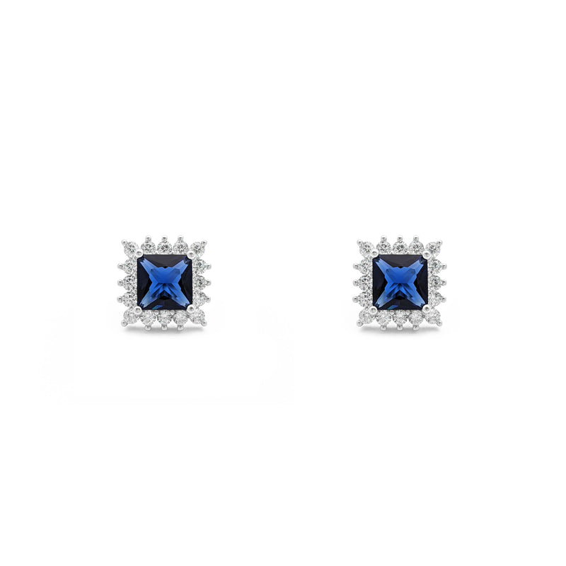 Blue Stone Princess-Cut Halo Stud Earrings (Silver) front - Popular Jewelry - New York