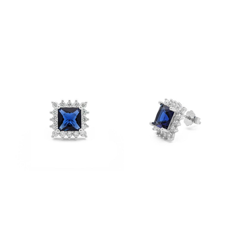 Blue Stone Princess-Cut Halo Stud Earrings (Silver) main - Popular Jewelry - New York