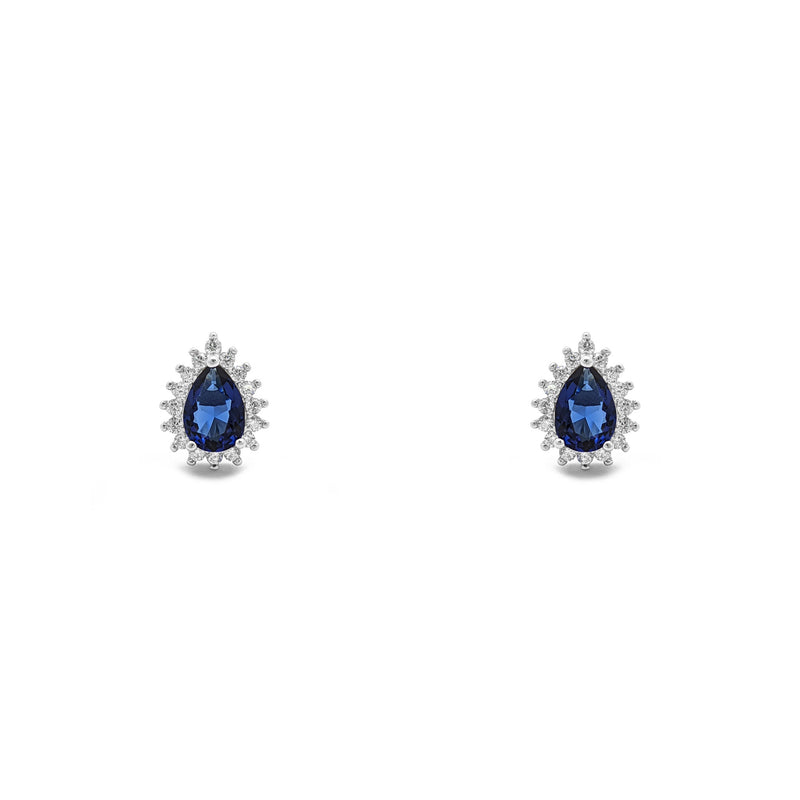 Blue Stone Teardrop Halo Stud Earrings (Silver) luma - Popular Jewelry - Niu Ioka