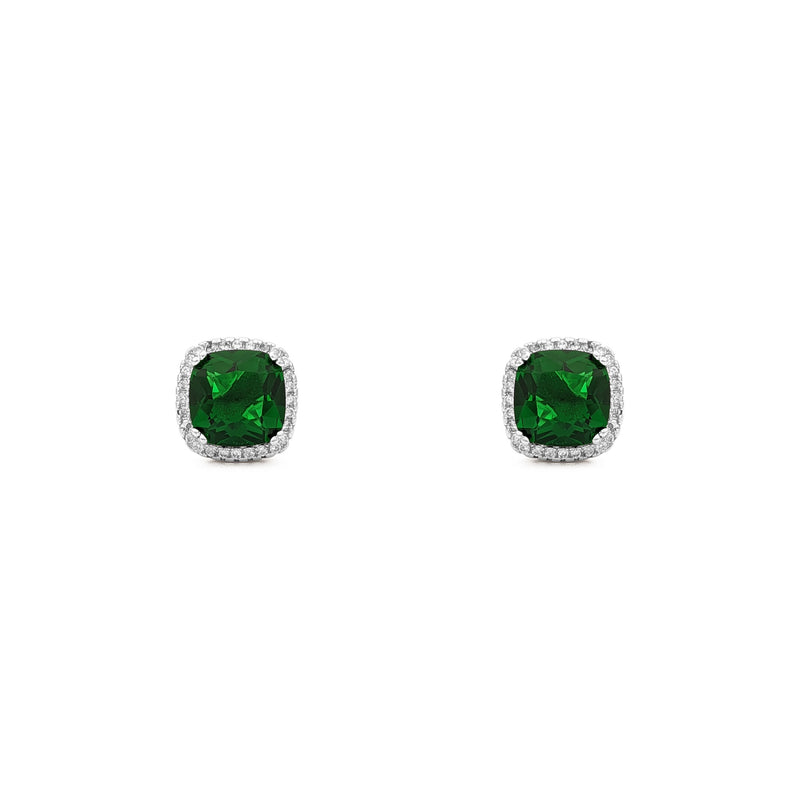 Green Radiant-Cut Cushion Halo Stud Earrings (Silver) front - Popular Jewelry - New York