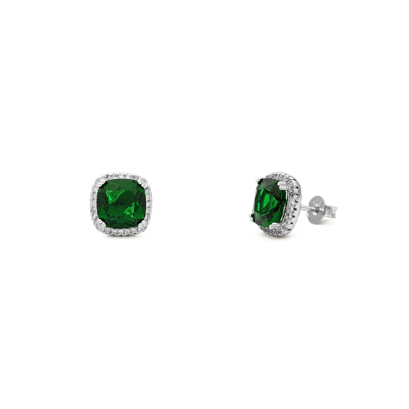 Green Radiant-Cut Cushion Halo Stud Earrings (Silver) main - Popular Jewelry - New York