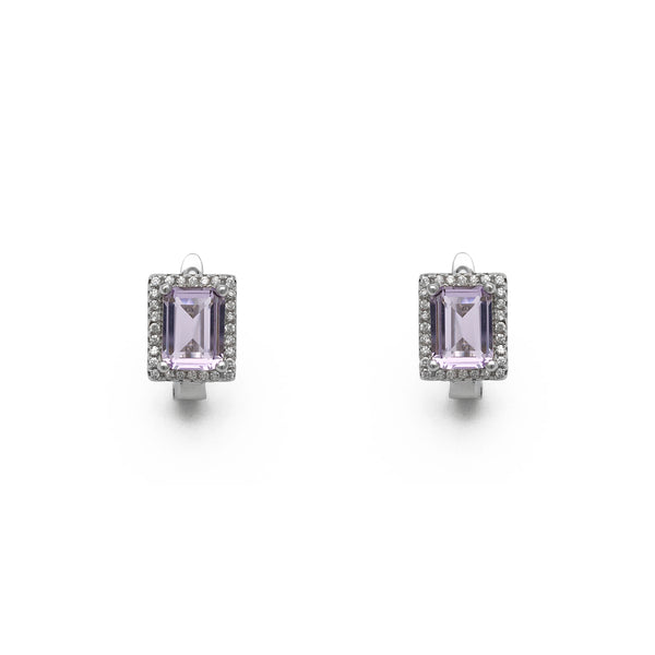 Lilac Emerald-Cut Halo Stud Ouerréng (Sëlwer) virum - Popular Jewelry - New York