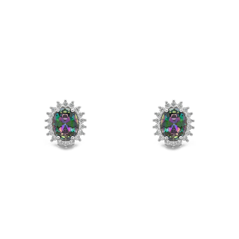 Mystic Fire Stone Oval-Cut Halo Stud Earrings (Silver) front - Popular Jewelry - New York