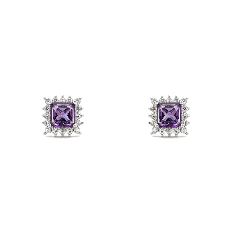 Purple Stone Princess-Cut Halo Stud Earrings (Silver) luma - Popular Jewelry - Niu Ioka
