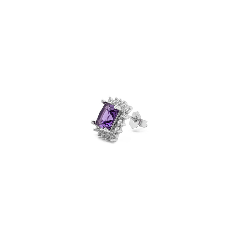 Purple Stone Princess-Cut Halo Stud Earrings (Silver) itu - Popular Jewelry - Niu Ioka